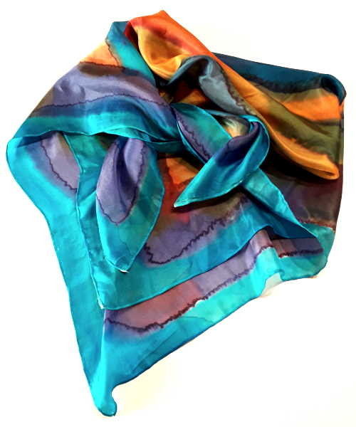 Sky hand-painted pure silk scarf